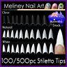 100/500Pc Stiletto Tips Pointy False French Nails Nail Fake Gel Art Acrylic
