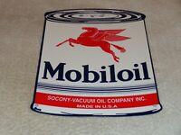 "VINTAGE MOBIL ""MOBILOIL QUART CAN OIL"" 11"" PORCELAIN METAL GASOLINE SIGN PEGASUS"