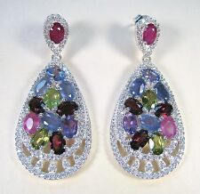 FANCY SAPPHIRE, TANZANITE & RUBY EARRINGS 15.56 CTW - WHITE GOLD over 925 SILVER