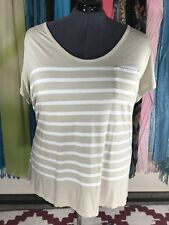 OLD NAVY Ivory And Beige Stripe Pocket T Shirt Blouse Plus Size XXL