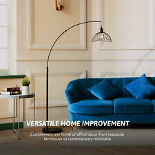 """69"""" Industrial Curved Floor Lamp for 60W Bulb w Weighted Base Cage Shade Black"""