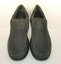 Clarks 11M Slip On Shoes Euclid Guard 62171 Mens Leather Charcoal Gray