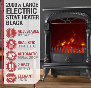 Large 2000W Black Electric Fireplace Stove Heater With Flame Effect Grade B Used