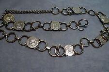 "Girls Silver Chain Link Adjustable Belt 32"""