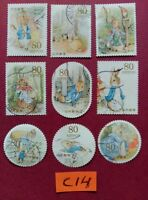 PETER RABBIT BEATRIX POTTER   USED JAPAN STAMPS
