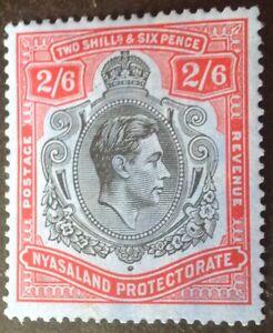 Nyasaland 1938 2/6 shilling black & Red blue stamp mint hinged