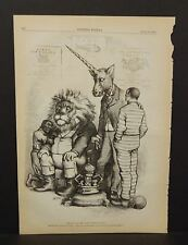 Harper's Weekly Single The Lion & Unicorn Fighting Political Cartoon  1876 A8#78