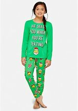 Justice Girl's Size 14-16 Plus Santa Text Emoji Pajama Set New with Tags