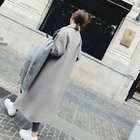 Women Winter Thick Wool Lapel Over-knee Coat Jacket Long Overcoat Outwear LOT LN