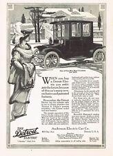 1912 Original Vintage Anderson Detroit Electric Car Vehicle Art Print Ad b