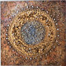 Quadro astratto texture cm 50x50 oro dipinto a mano  tela cotone telaio legno C