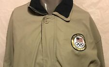 VTG US Olympic Sixth Ring Committee Khaki Jacket Sz Large Olympiad Sports Rings