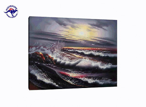 OCEAN DURING SUNSET OIL PAINTING HANDMADE ON CANVAS-2 SIZES WOODEN FRAME