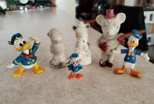 Vintage Walt Disney Bisque & Chalk & Plastic Figures Donald Duck Mickey As-Is