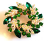 RHINESTONE WREATH BROOCH!Faceted Green & Clear Crystals.Gold Plated Setting.