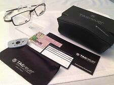 NEW TAG HEUER TH3704 002 56 CHOCOLATE BROWN TITANIUM FULL RIM EYEGLASS CASE/BOX