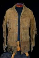RARE VINTAGE 1960'S BROWN HEAVY SUEDE FRINGE WESTERN JACKET SIZE SMALL