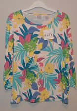 New  Keren Hart Floral Pink Blue Yellow 3/4 Cotton   Top Blouse size M Medium