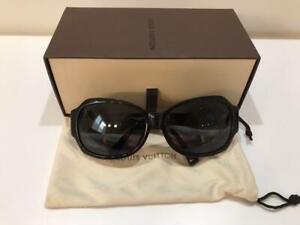 Louis Vuitton Z0145E 62□15 Women's Sunglasses Black Frame/ Lens w/case USED