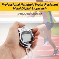 Digital Handheld Waterproof Metal Stopwatch Chronograph Sports Training Timer