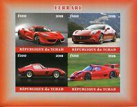 Chad Cars Stamps 2018 MNH Ferrari Transport 4v IMPF M/S
