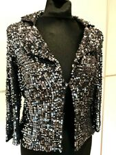 Designer Sample Women Silver Sequin Cocktail Party Evening Tuxedo Style Jacket