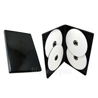 50 Standard 14mm Multi Hold 4 Disc Quad CD DVD Black Case Movie Box Wholesale