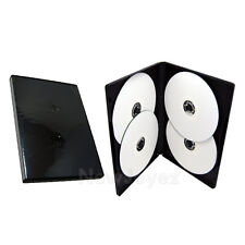 50 Standard 14mm Multi Hold 4 Disc Quad CD DVD Black Case Movie Box Wholesale