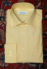 Ancona Men's Solid Yellow Luxury Cotton Made In Italy Sport Shirt M Medium NEW