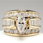 Fashion 18k Gold Plated Rings For Women Cubic Zirconia Wedding Jewelry Size 6-10