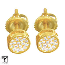 Men's Pave Lab Diamond Gold Plated Round Stud Screw Back Earrings SE 028 G