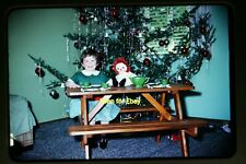 Girl w/ Raggedy Ann Doll & Christmas Tree in 1966, Original Slide aa 2-12a