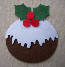 Bulk x12 FELT CHRISTMAS PUDDINGS die cuts Bunting Tree Decorations Appliques
