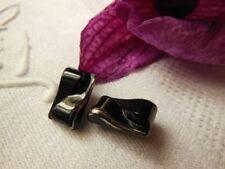 duo petits boutons anciens  verre noir argenté rectangulaire vers 1940 G131A