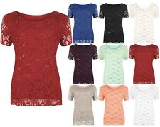 Womens Lace Sequin Lined Blouse Floral Pattern Top Ladies Short Sleeve T shirts