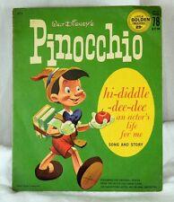 1950's Vintage Walt Disney's Pinocchio Little Golden Record 78 RPM Sleeve Only