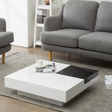 Modern Black&White Rotating Coffee Table Square Storage Space for Living Room