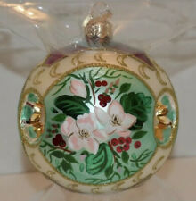 """Hallmark Collectors Series Crown Reflection 4"""" Glass Ornament Christmas Rose!"""