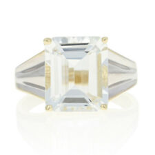 Yellow Gold White Topaz Ring - 10k Rectangle Cut 8.00ct Cocktail Solitaire