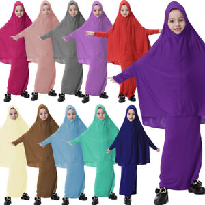 Dubai Abaya Muslim Kids Girls Long Hijab Maxi Dress Islamic Prayer Clothes Sets