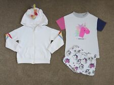 Girls NEXT Unicorn 3 Piece Set Outfit Hoodie Top Shorts, Size 5 years