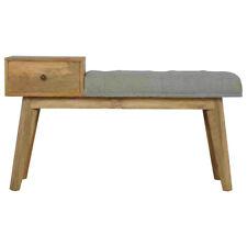Vintage Scandinavian Style Telephone Table Bench Upholstered In Grey Tweed