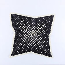 "Large Square Silk Scarf 36x36"" (90x90cm) Black Theme Polka Dot Print SZD062"