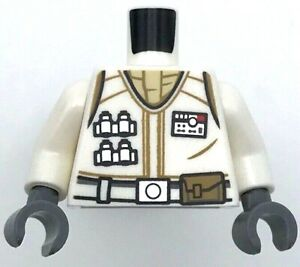 Lego New White Torso Star Wars Hoth Rebel Vest with ID Badge Utility Belt
