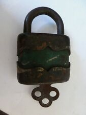 Antique Green pad lock with key