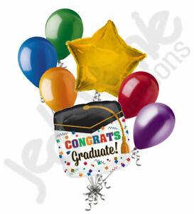 7 pc Colorful Confetti Grad Balloon Bouquet Happy Graduation Congratulations