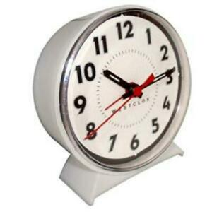 Westclox White Wind Up Bell Alarm Clock No AC or Batteries Required USA Seller