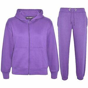 Kids Girls Boys Plain Tracksuit Hooded Top Bottom Back To School Jog Suit 2-13