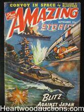 """""""Amazing Stories"""" September 1942 Laser guns against battleships"""
