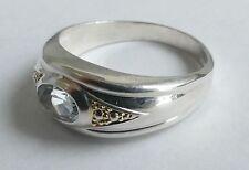 Ring blauer geschliffener Edelstein Silber 925 Vintage 80er ring